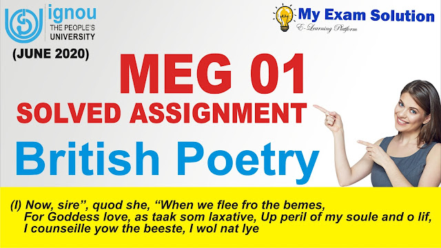 british poetry, meg 01 british poetry assignment, free ignou assignment