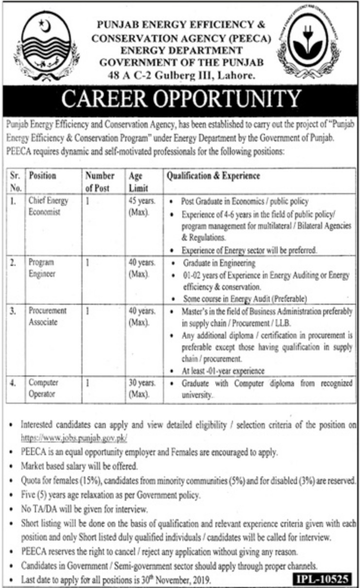 PEECA Energy Department Punjab Jobs 16 Nov 2019