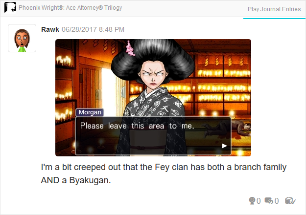 Phoenix Wright Ace Attorney Justice For All Morgan Fey Byakugan leave this area to me white eyes
