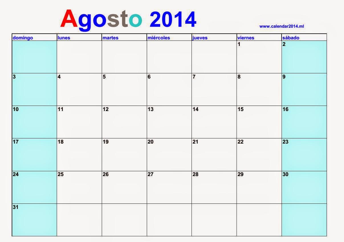 alendario en blanco Agosto 2014 con notas   calendars 2018 ...