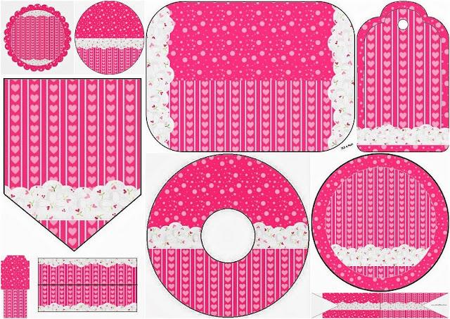 Corazones Rosa: Imprimibles para Fiestas y Etiquetas para Candy Buffet para Imprimir Gratis.