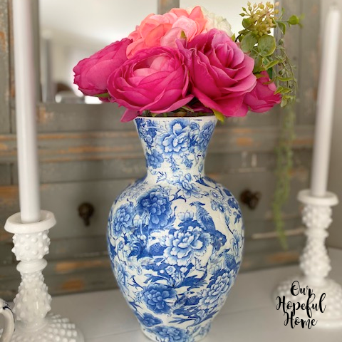 blue white belly vase