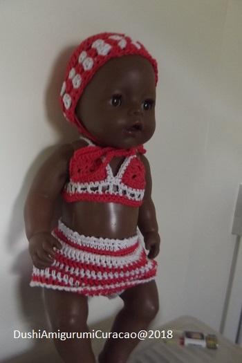ee0c66eaac6194 Dushi Amigurumi Curacao: Haakpatroon Beach zwemkleding Baby Born 43cm