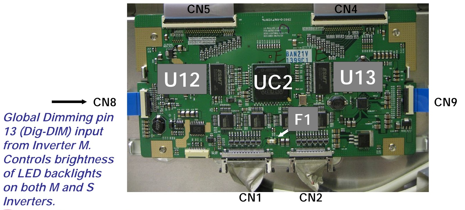 Lg 47lg90 Led Lcd Tv Tcon Board Voltage Check Fuse How To A Circuit Tft Drive Pwb With Shield