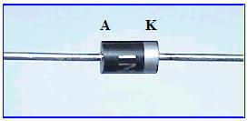 Este es el tipo de diodo mas empleado en la electrónica, la sección de color negro se corresponde con el anodo, y la plateada o gris clara con el catodo