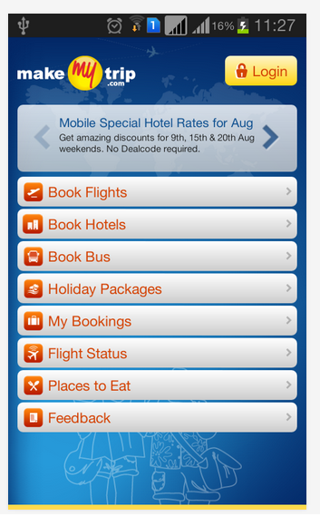 MakeMyTrip android apps for mobile