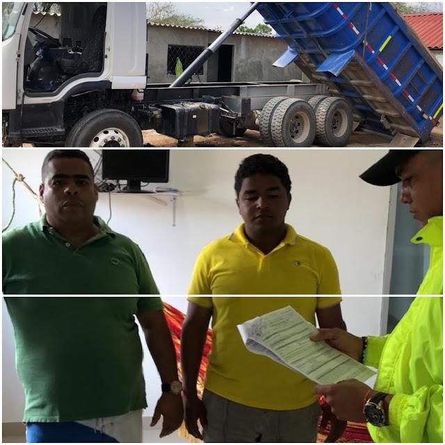 Dos capturados por camión robado en Chiriguaná que la Policía encontró en Barrancas - Guajira