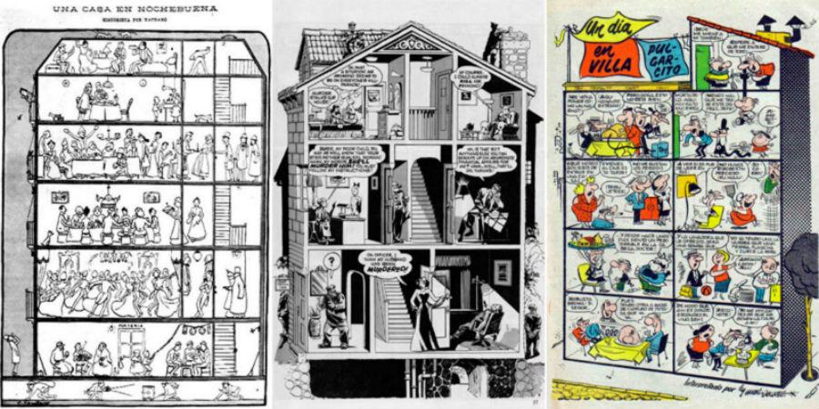 Las ilustraciones de Una casa en nochebuena, School for girls y Villa Pulgarcito en forma de edificio