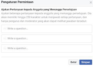ajukan pertanyaan bergabung dengan grup fb