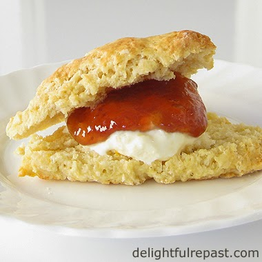Scone with Clotted Cream and Jam / DelightfulRepast.com