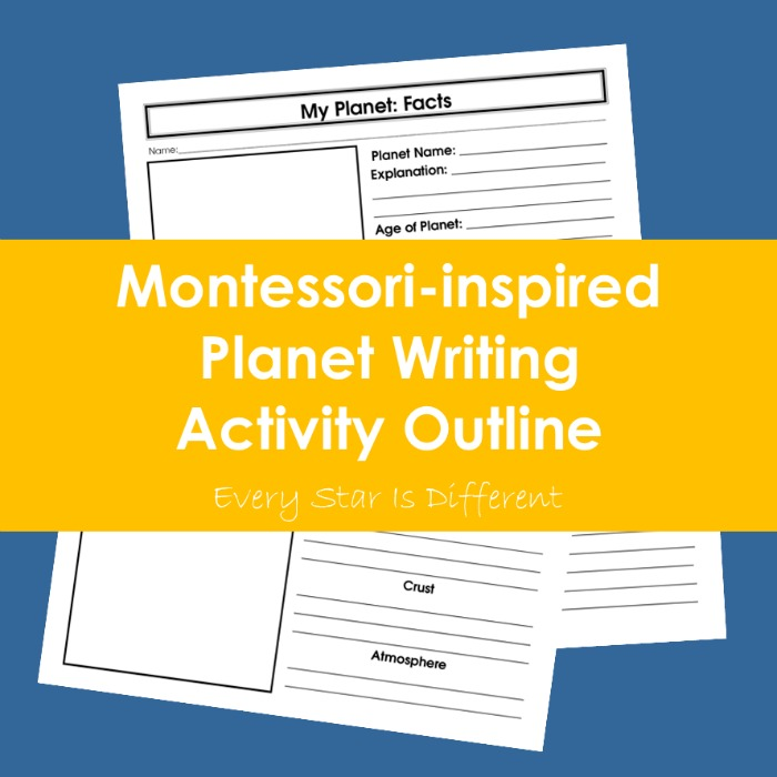 Montessori-inspired Planet Writing Activity Outline