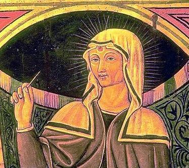 Imagen de Santa Marta con una aguja en la mano