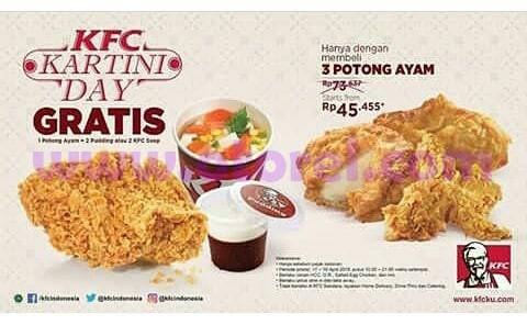 Promo KFC Terbaru Kartini Day Beli 3 Potong Ayam Rp 45.455 Gratis Ayam, puding Atau Soup