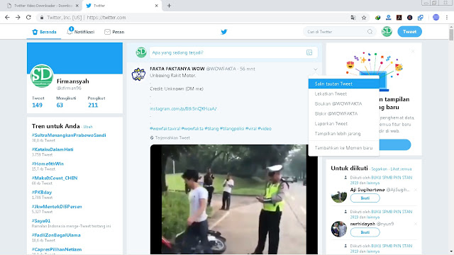Langkah - langkah Cara Download Video Di Twitter