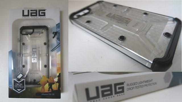 clear 'Ice' UAG case complete with skid pads