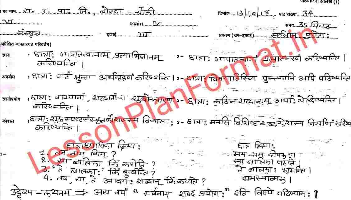 Sanskrit Vyakaran Sarvanam Lesson Plan