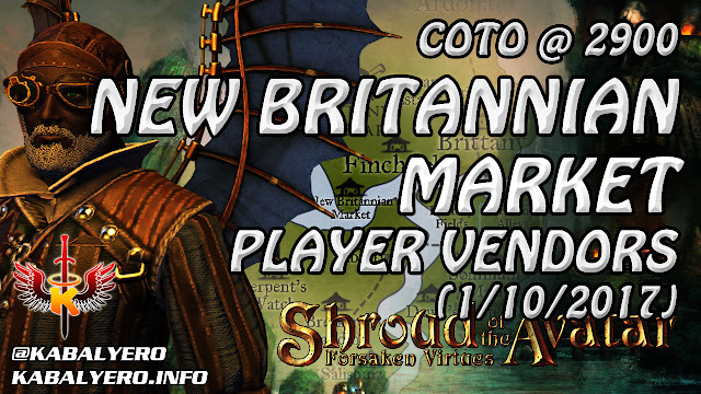 Shroud Of The Avatar Market Watch 💰 COTOs @ 2900, New Britannian Market Player Vendor (1/10/2017)