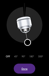 black background with a diagram of where the fan is directing the air flow below is the osculation options ranging from off, 45 degrees to 360 degrees below is a purple rounded rectangle with the word done in the centre