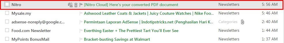 Mengecek kiriman masuk berkas konversi di email