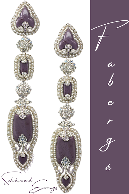 Fabergé Scheherazade 18k gold & silver diamond drop earrings with purple moonstones & pearls #brilliantluxury