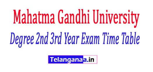 MGU Degree 2nd 3rd Year Annual Exam Time Table 2018