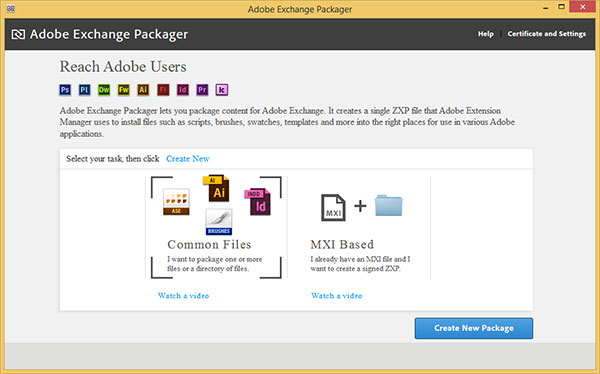 Adobe Exchange Packager Welcome Screen: Create New Package