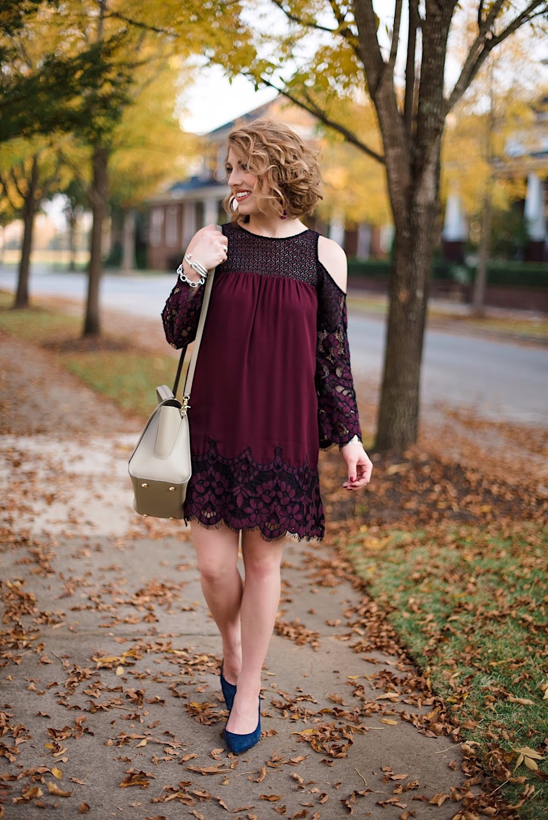 Two Tone Lace Dress (Fall Fashion) - Something Delightful Blog