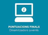 Puntuacions finals obtingudes al procés selectiu convocat per a la constitució d'una borsa de treball de dinamitzadors juvenils del Consell Comarcal del Gironès