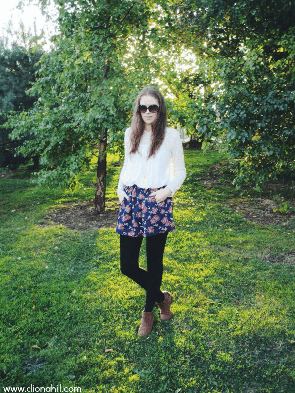 Autumn floral skirt and lace top