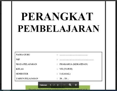 Perangkat Pembelajaran Prakarya (Kerajinan) Kelas 7 Tahun 2021/2022