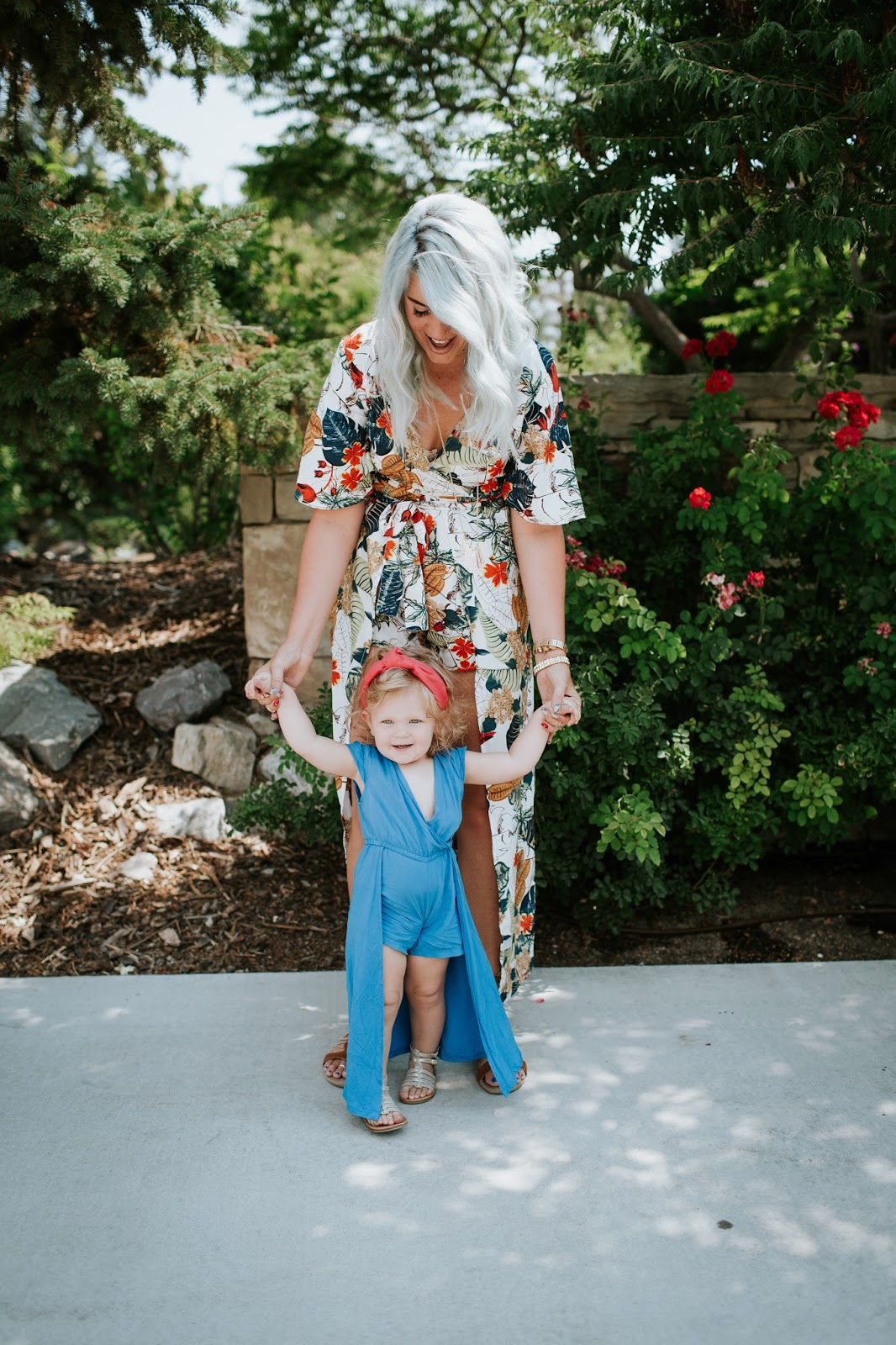 Floral Romper, Blue Hair, Utah Fashion Blogger