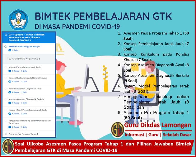 Soal Ujicoba Asesmen Pasca Program Tahap 1 dan Pilihan Jawaban Bimtek Pembelajaran GTK di Masa Pandemi COVID-19