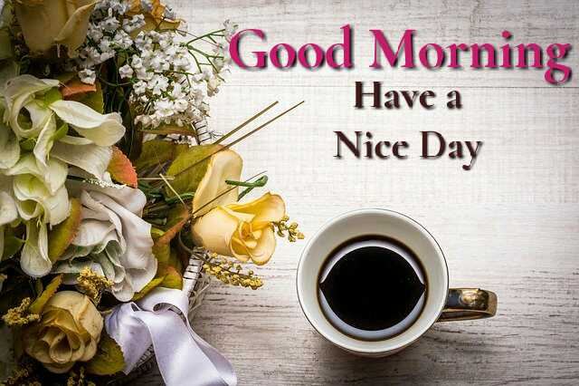 Beautiful good morning photo image with coffee and flowers
