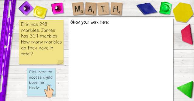 Mockup of a digital math problem for students.