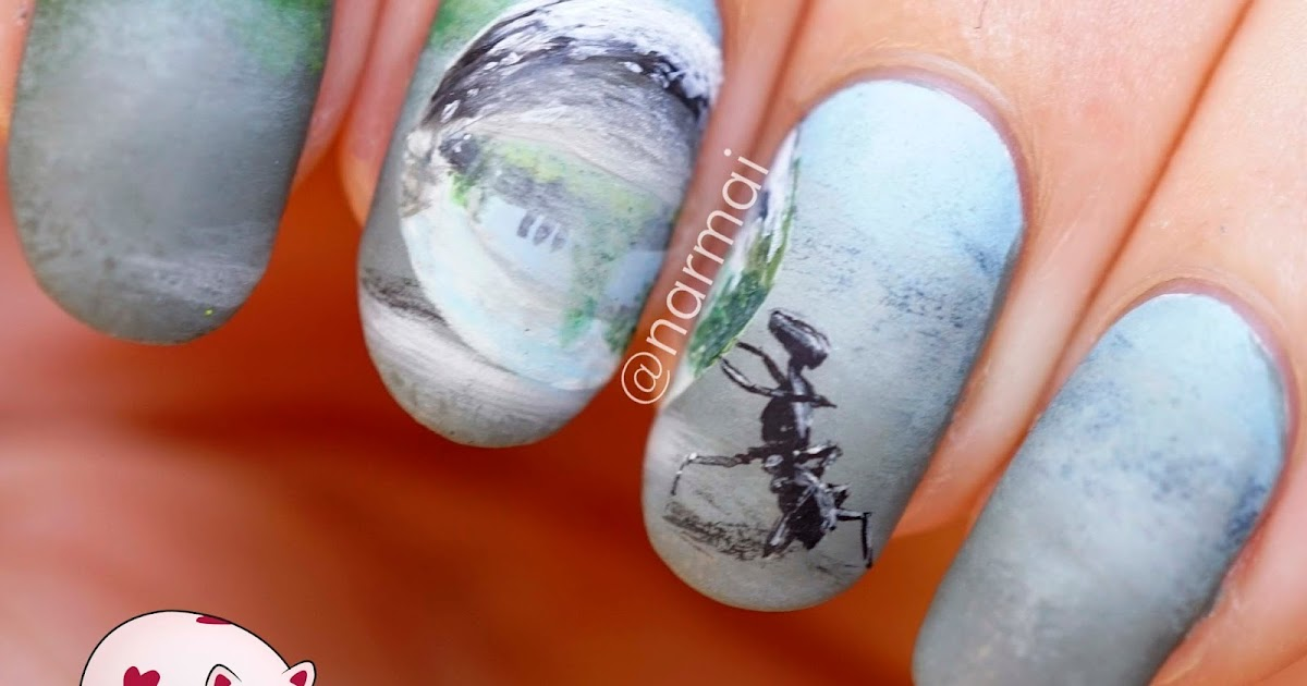 Nails Art: PiggieLuv: Freehand Ant With Water Drop Nail Art