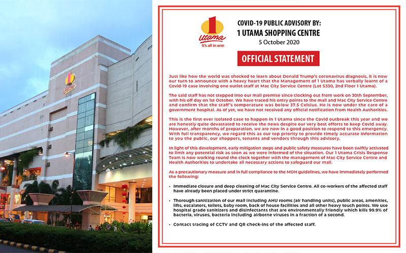 1 Utama Sahkan Kes COVID-19 Yang Melibatkan Pekerja Mac City Service Centre