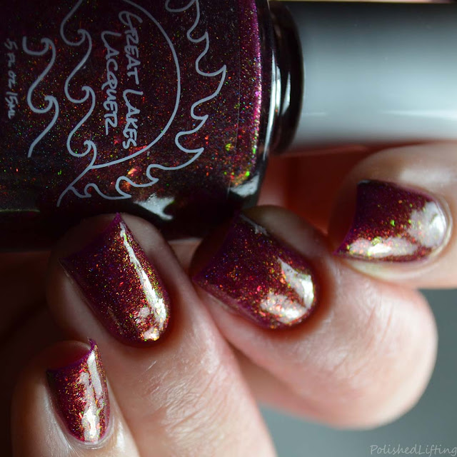 red nail polish with iridescent flake