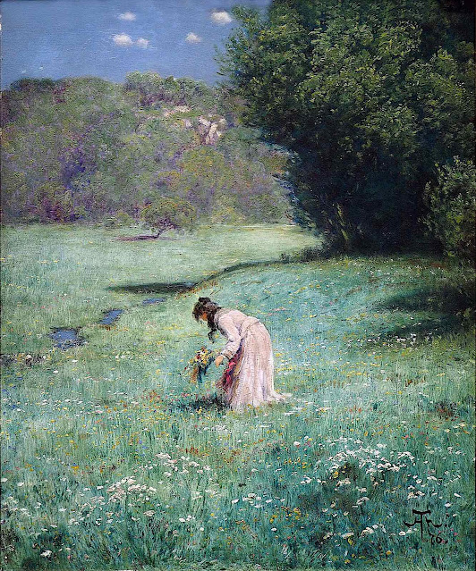 a Hans Thoma painting 1876 of a woman picking wild flowers in a field