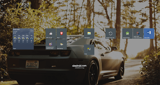 Contoh Tampilan Start Menu Fullscreen di Windows 10