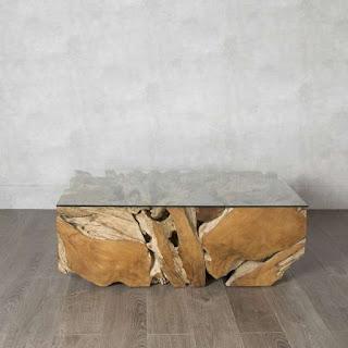 mesa baja de raices y troncos