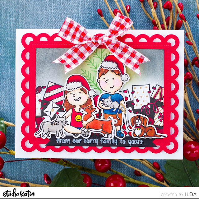 Happy Pawlidays, Christmas Card, Studio Katia, Card Making, Stamping, Die Cutting, handmade card, ilovedoingallthingscrafty, Stamps, how to,  Pets, family photo, Holiday Card,Copic Markers,Ink Blending,