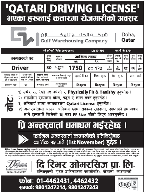 Jobs in Qatar for Nepali, Salary Rs 48,125