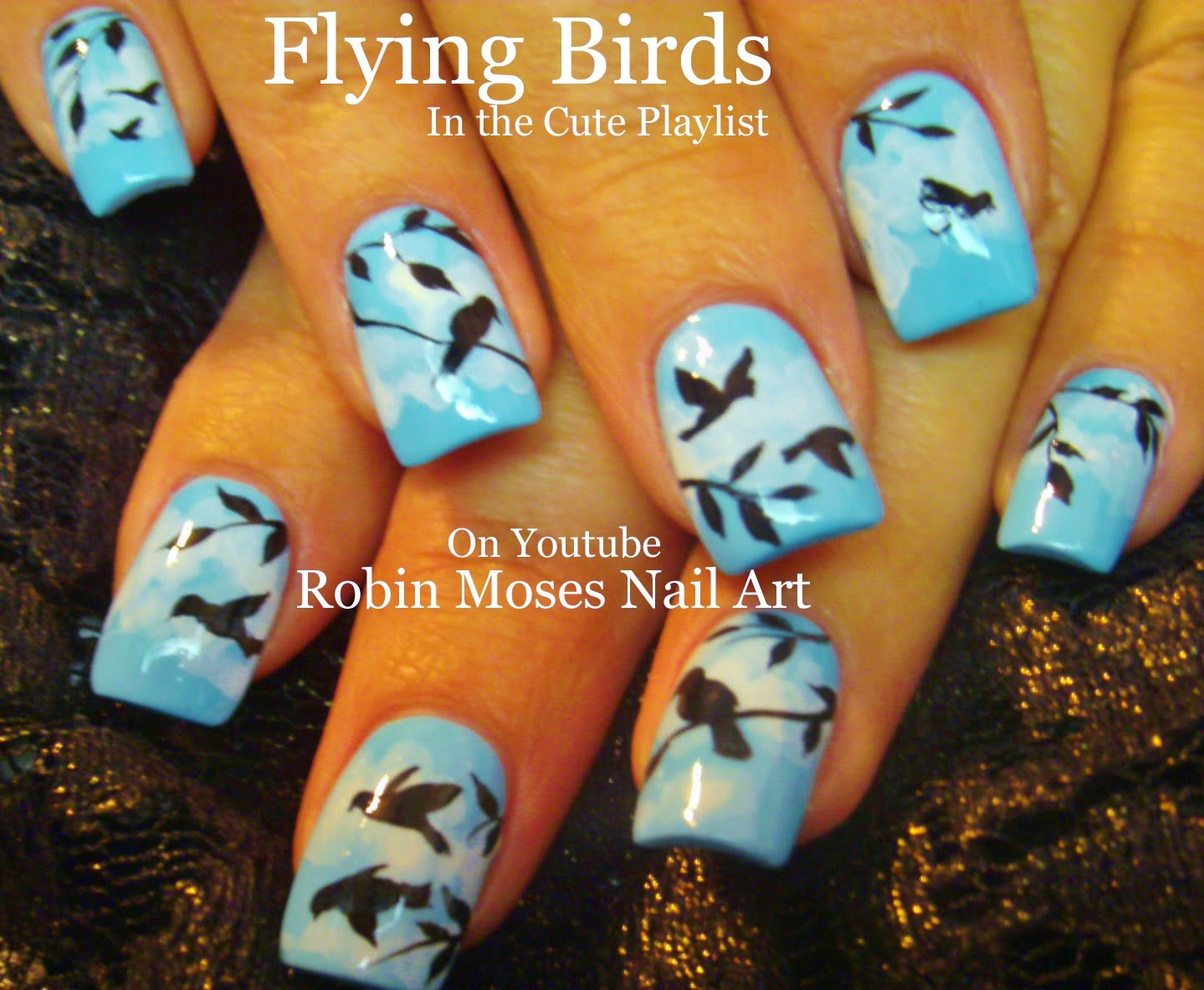 Nail Art By Robin Moses Flying Birds On A Blue Sky With Fluffy