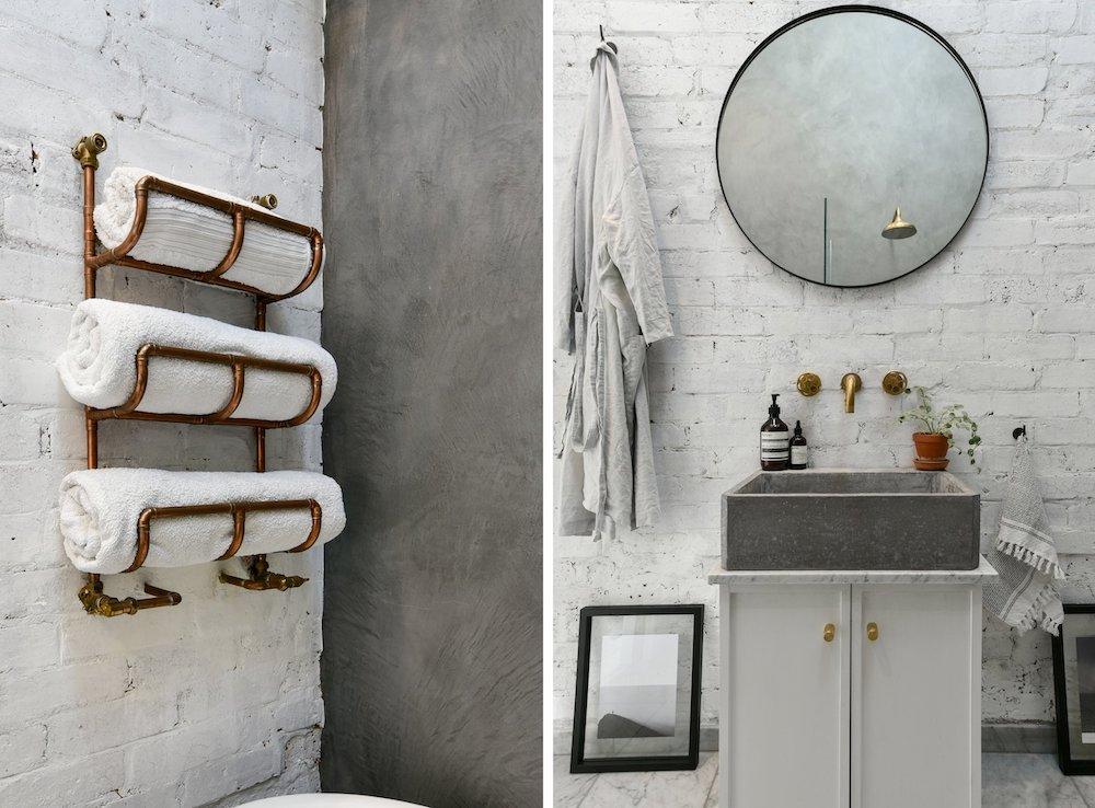 Baño con microcemento como revestimiento de paredes