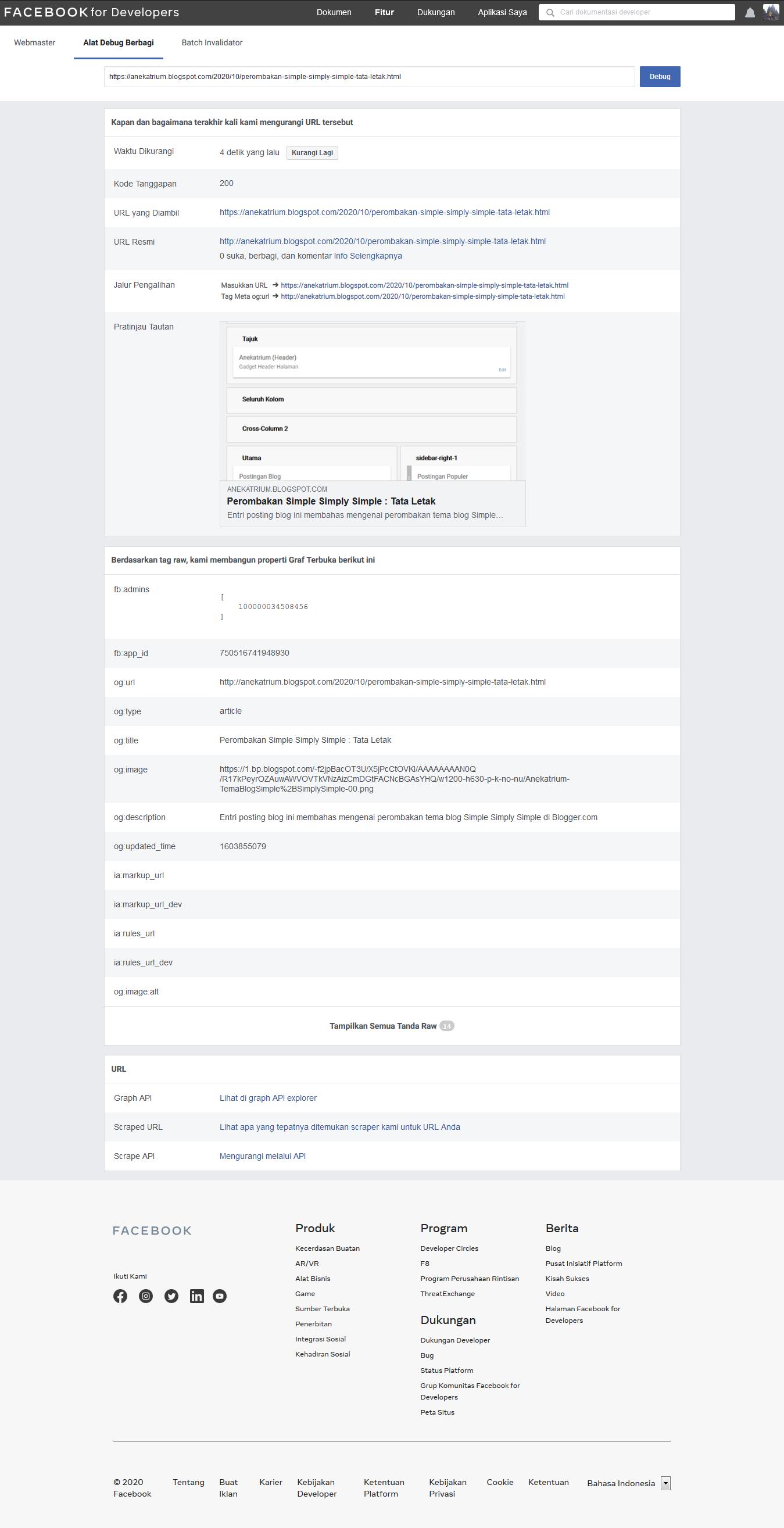 Facebook : Alat Debug Berbagi