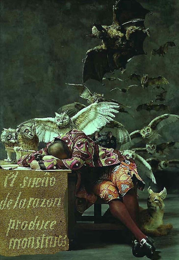 O sono da razão prooduz monstros, adaptação, Francisco de Goya y Lucientes (1746-1828), Museo del Prado