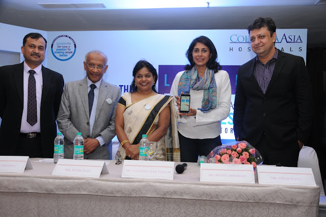 Photo 1:  Launch of diabetes app (L to R) Dr. Sunil Rao, Vice President, Operations (South), Columbia Asia Hospitals; Dr. Nandakumar Jairam, Chairman and Group Medical Director, Columbia Asia Hospitals; Col. Binu Sharma, Sr. V.P. Nursing Services, Columbia Asia Hospitals; Ms. Reeth Abraham, International Athlete and Arjuna Awardee; Mr. Vinay Kaul, Sr. VP Sales and Marketing, Columbia Asia Hospitals