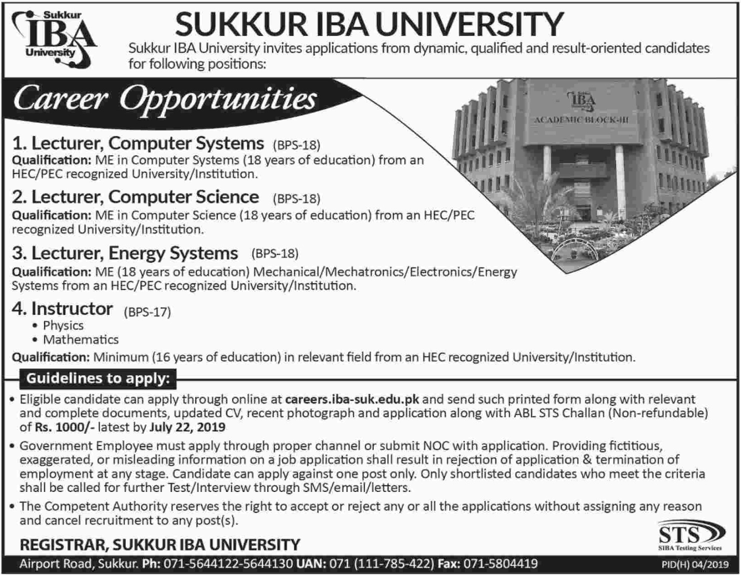 Sukkur IBA University Jobs 2019 Sindh Latest