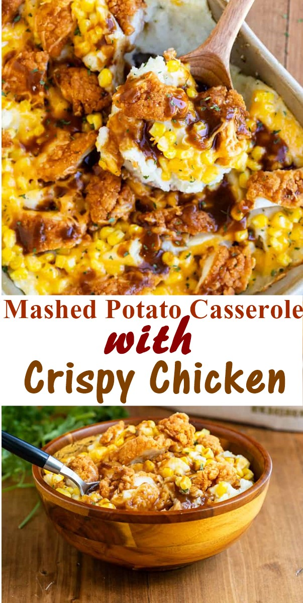 Mashed Potato Casserole with Crispy Chicken #dinnerrecipes