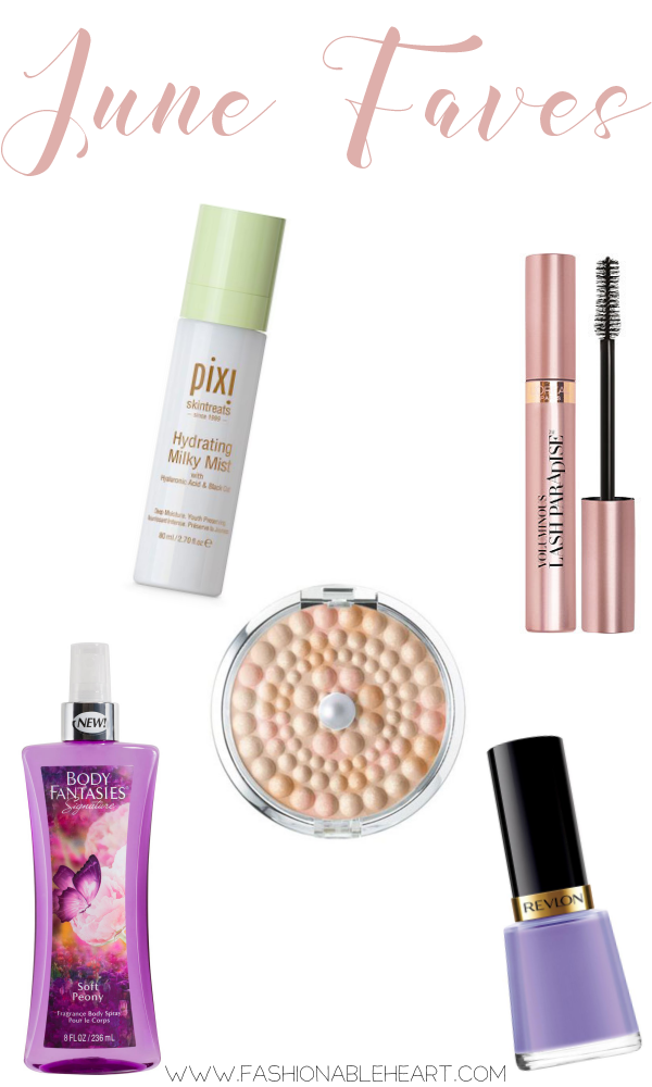 bbloggers, bbloggersca, canadian beauty bloggers, june favorites, drugstore beauty, body fantasies, soft peony, physicians formula, mineral glow pearls, translucent pearl, revlon nail polish, enchanting, l'oreal, loreal, lash paradise, mascara, pixi, pixi beauty, hydrating milky mist